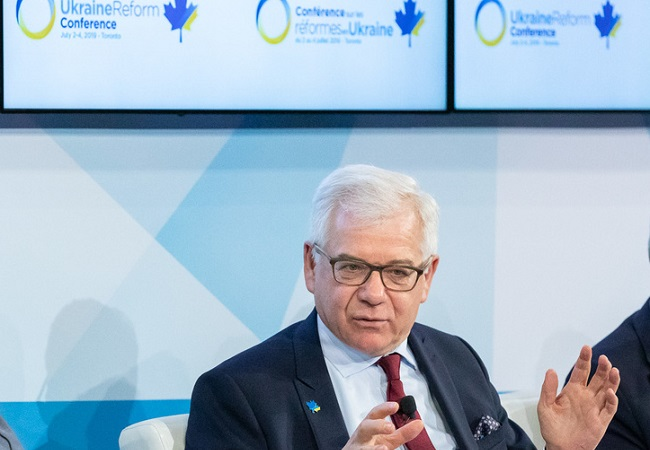 Poland's Foreign Minister Jacek Czaputowicz attends the Ukraine Reform Conference in Toronto, Canada, on Tuesday.