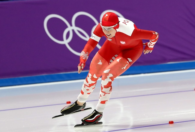 Polish speed skater Natalia Czerwonka in action during the women's 1,500 m event at the Pyeongchang Olympics on Monday. Photo: PAP/Grzegorz Momot