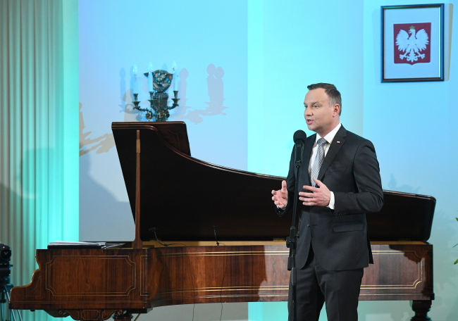 Andrzej Duda at Saturday's concert at the presidential palace. Photo: PAP/Radek Pietruszka