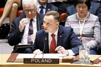 Polish president talks WMDs at UN Security Council