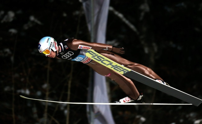Kamil Stoch in action at Bischofshofen. Photo: PAP/Grzegorz Momot