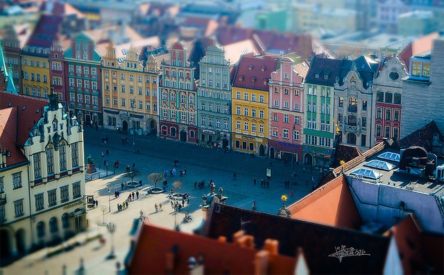 A tilt-shift view of Wrocław's Old Town. Photo: Flickr.com/Philip Bitnar