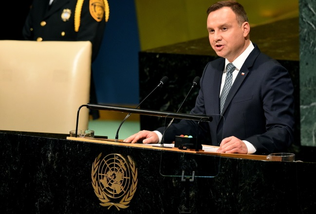 President Duda speaks at the 72nd session of the United Nations General Assembly in New York. Photo: PAP/Radek Pietruszka