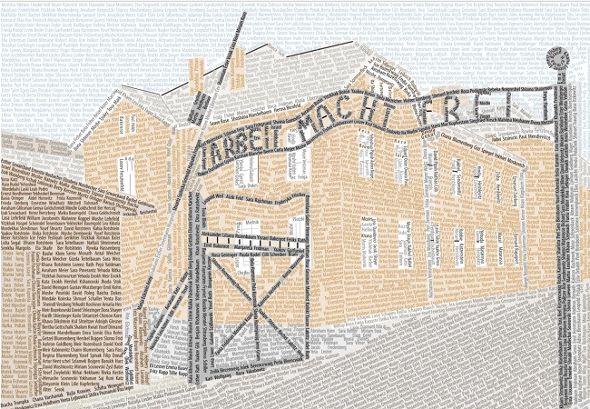 A picture of the main gate to the German Nazi Auschwitz death camp, made with some of the names of the Holocaust victims who died there. Image: Dzeni/Wikimedia Commons (CC BY-SA 3.0)