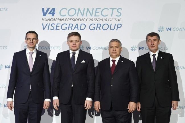Poland's Mateusz Morawiecki, Slovakia's Robert Fico, Hungary's Viktor Orban and the Czech Republic's Andrej Babiš pose for a group photo prior to their meeting of the heads of government of Visegrad Group (V4) countries in Budapest, Hungary, on Friday. Photo: EPA/Szilard Koszticsak