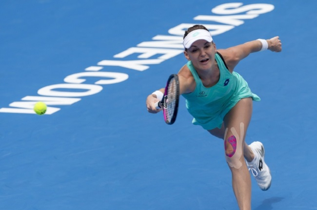 Radwańska in action against Konta during the tournament in Sydney, Australia, on Tuesday. Photo: EPA/CRAIG GOLDING