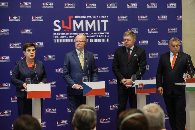 Беата Шидло серед прем'єр-міністрів Вишеградської групи на саміті в Братиславі, 13 жовтня 2017 року
