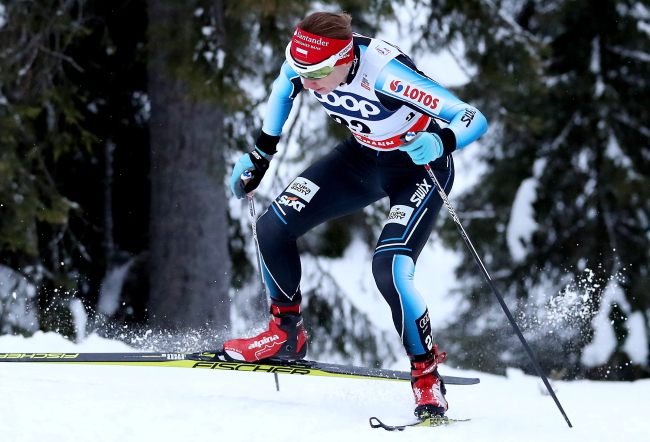 Justyna Kowalczyk in action during the 10 km pursuit freestyle race in Kuusamo, Finland on Sunday. Photo: PAP/Grzegorz Momot