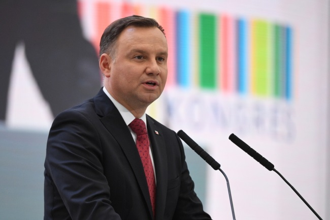 President Andrzej Duda speaks at the opening of the Congress 590 event on Thursday. Photo: PAP/Darek Delmanowicz