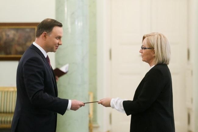 President Andrzej Duda (left) and judge Julia Przyłębska. Photo: PAP/Paweł Supernak