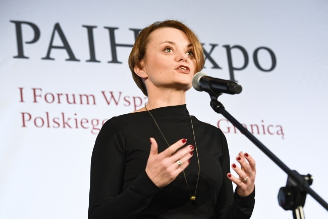 Poland's Entrepreneurship and Technology Minister Jadwiga Emilewicz speaks at the PAIH Expo 1st Trade & Invest Forum in Warsaw on Thursday. Photo: PAP/Jacek Turczyk