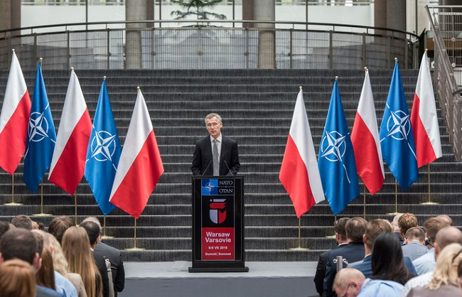 NATO's Jens Stoltenberg speaks during a previous visit to Warsaw. Photo: NATO