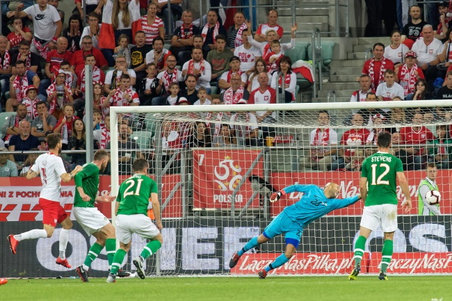 Mateusz Klich (left) heads home for Poland against Ireland on Tuesday. Photo: PAP/Jan Karwowski