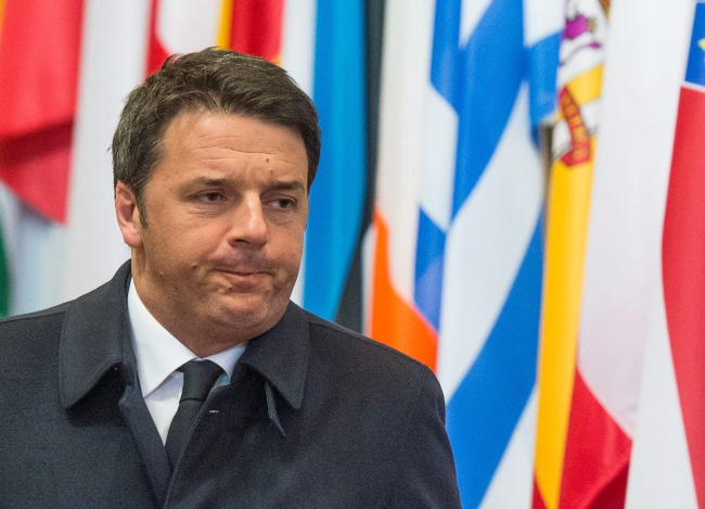 Italian Prime Minister Matteo Renzi at the end of the first day of an extraordinary two-day EU summit at the European Council headquarters in Brussels. Photo: EPA/STEPHANIE LECOCQ