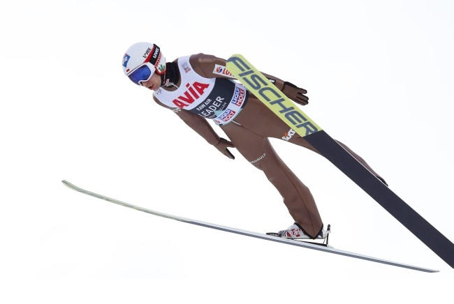 Poland's Kamil Stoch in action during the team competition of the ski-jumping World Cup in Oslo, Norway, on Saturday. Photo: EPA/TERJE BENDIKSBY