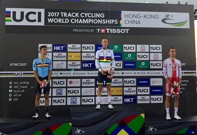 Belgium's Kenny De Ketele, Australia's Cameron Meyer and Poland's Wojciech Pszczolarski. Photo: Twitter.com/UCI Track Cycling.