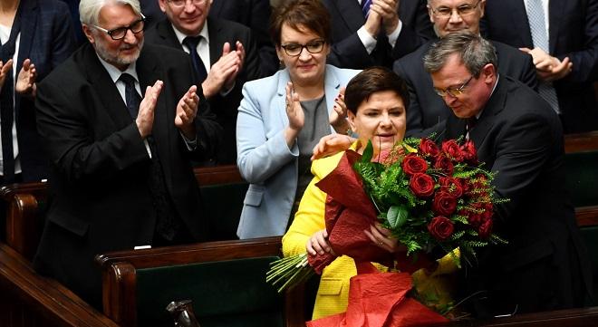 Premier Beata Szydło po odrzuceniu wniosku o wotum nieufności dla rządu.