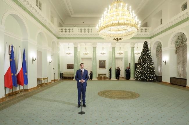 Після урочистостей у Президентському палаці, Матеуш Моравєцький відвідав релігійний телеканал