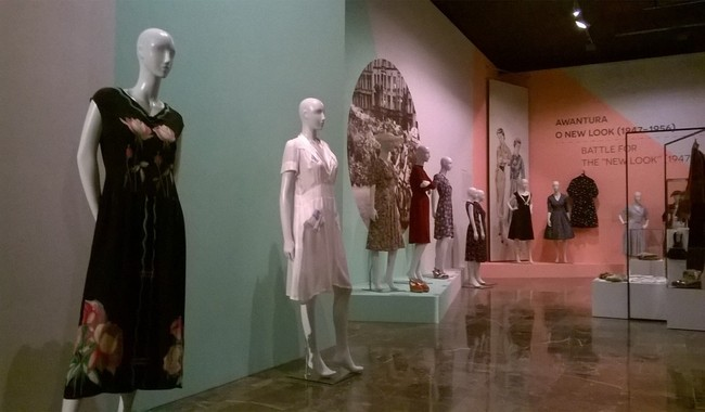 A section of the exhibition at the National Museum in Kraków. The white dress (2L) was sewn from a parachute.Photo: N. Hodge