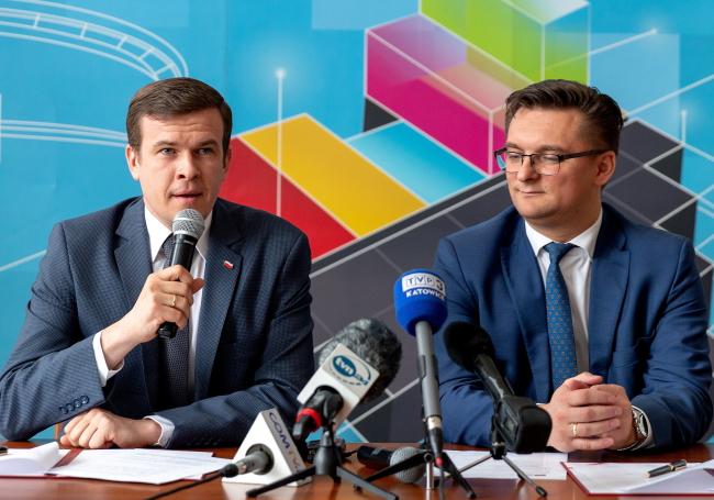 Sports Minister Witold Bańka and Katowice Mayor Marcin Krupa. Photo: PAP/Andrzej Grygiel.