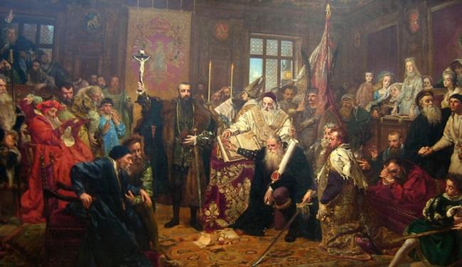 """Карціна """"Люблінская ўнія"""" Яна Матэйкі, 1869 год"""