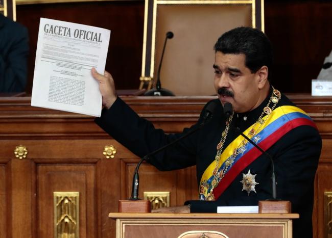 Нікаляс Мадура на паседжаньні новастворанай Канстытуцыйнай асамблеі, 10 жніўня 2017 г.