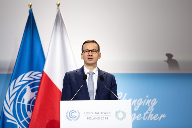 Poland's Prime Minister Mateusz Morawiecki speaks at the United Nations' COP24 climate change conference in the southern Polish city of Katowice on Tuesday. Photo: PAP/Hanna Bardo