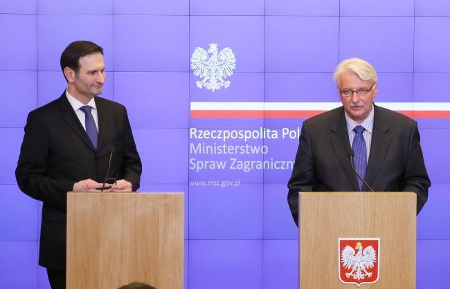 Croatia's Miro Kovač and Poland's Witold Waszczykowski. Photo: PAP/Paweł Supernak
