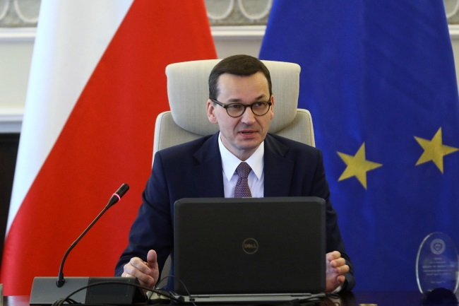 Prime Minister Mateusz Morawiecki ahead of a Cabinet meeting in Warsaw on Tuesday. Photo: PAP/Rafał Guz