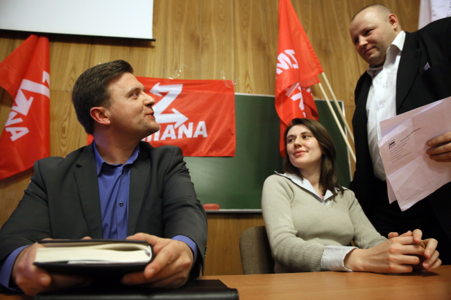 Mateusz Piskorski (L), leader of the Change party (Zmiana), at its first congress in Warsaw. Photo: PAP/Tomasz Gzell