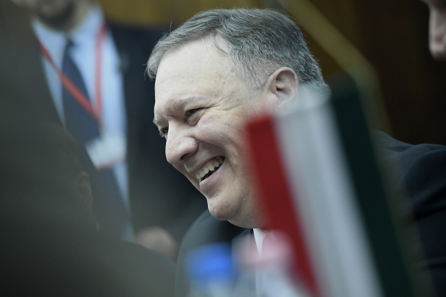 US Secretary of State Mike Pompeo during a meeting at the Hungarian Defence Ministry in Budapest on Monday. Photo: EPA/Tamas Kovacs