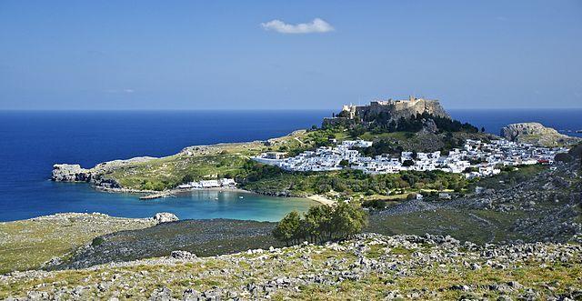 Общий вид на деревню Линдос на острове Родос