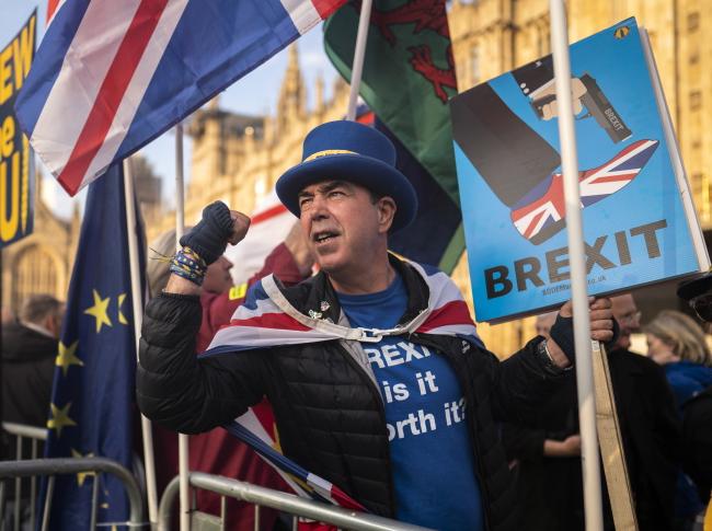 Активист Стив Брэй протестует против выхода Великобритании из Европейского союза перед зданием парламента в Лондоне