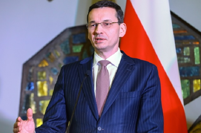 Polish PM Mateusz Morawiecki speaks at a news conference in Vilnius, Lithuania, on Friday. Photo: PAP/Rafał Guz
