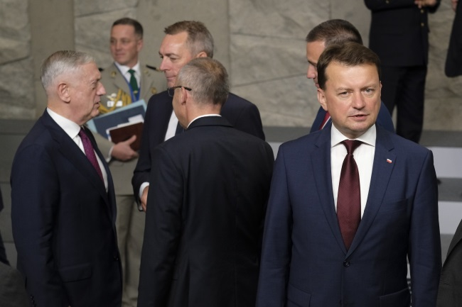 Poland's Mariusz Błaszczak (right) during a meeting of NATO defence ministers in Brussels, Belgium, on Thursday. Photo: EPA/OLIVIER HOSLET