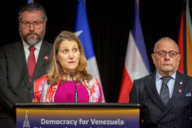 Canadian Foreign Minister Chrystia Freeland (centre) briefs the press following the 10th ministerial meeting of the Lima Group in Ottawa on Monday. Photo: EPA/Andre Pichette