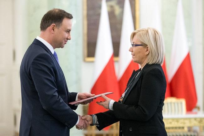 Polish President Andrzej Duda appointed Julia Przyłębska on Tuesday. Photo: Krzysztof Sitkowski / KPRP