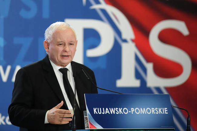 Ярослав Качиньский в Быдгоще, на предвыборной конференции партии «Право и справедливость»