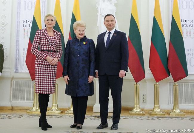 Agata Kornhauser-Duda, Dalia Grybauskaitė and Andrzej Duda. Photo: Jakub Szymczuk/KPRP.
