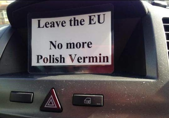 One of the cards posted through the front doors of Polish families in Huntingdon. Photo: Twitter.com/@howgilb