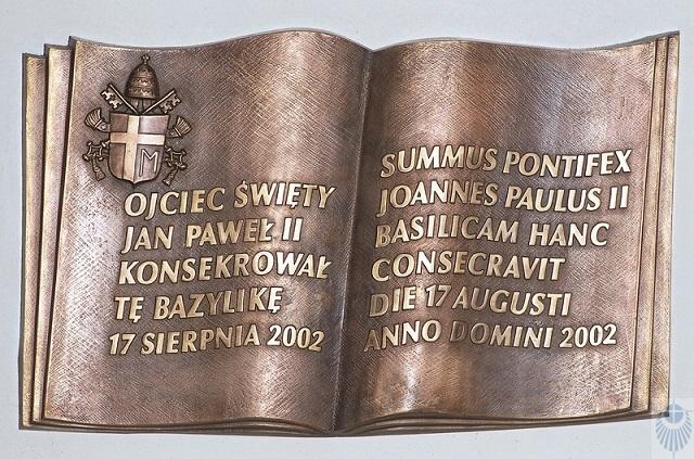 Bazylika w Łagiewnikach - tablica pamiątkowa