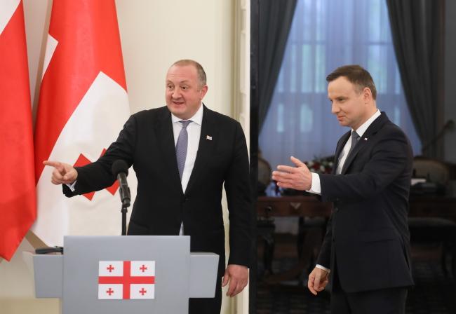Giorgi Margvelashvili and Andrzej Duda. Photo: PAP/Paweł Supernak.