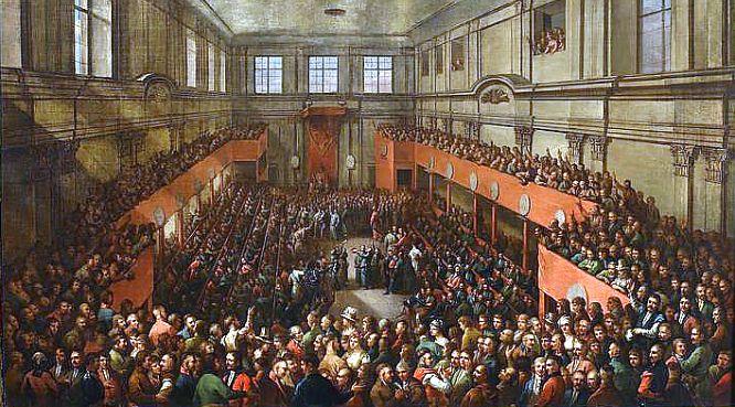 Die Verabschiedung der Verfassung vom 3. Mai auf einem Bild von Kazimierz Wojniakowski von 1806. Foto: Wikimedia Commons/domena publiczna