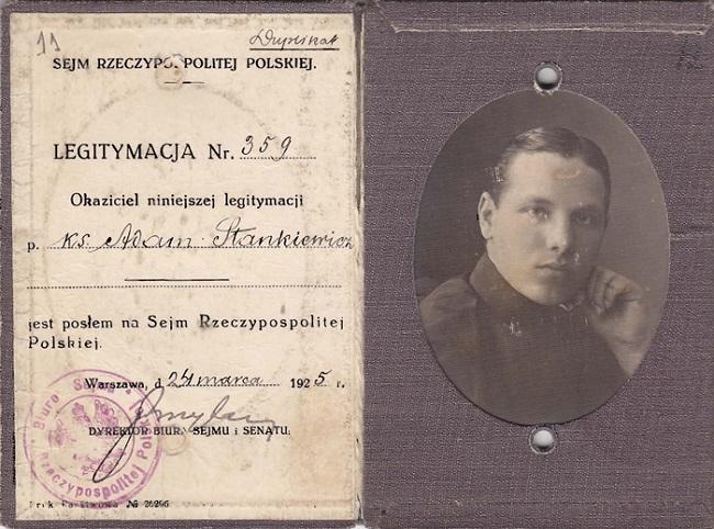 Пасьведчаньне дэпутата Сэйму Польшчы ксяндза Адама Станкевіча, 1925 год