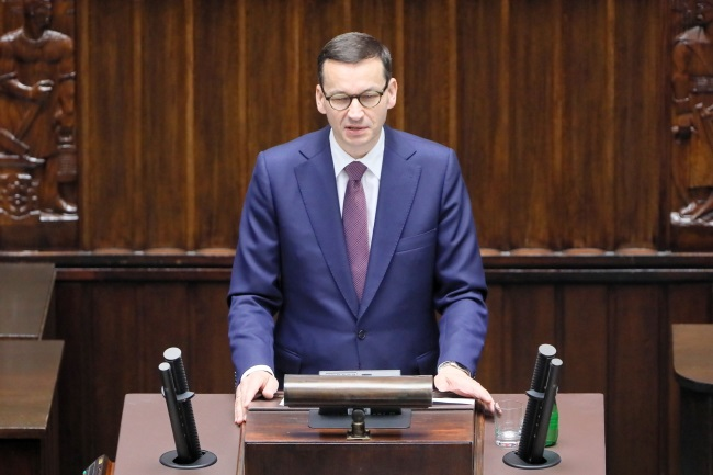 Polish Prime Minister Mateusz Morawiecki speaks during the Spring Session of the NATO Parliamentary Assembly in Warsaw on Monday. Photo: PAP/Paweł Supernak