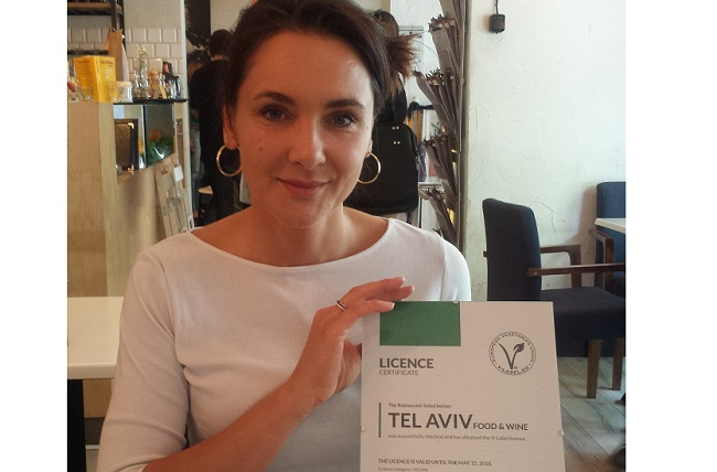 Malka Kafka, the owner of Tel Aviv Food and Wine restaurant in Warsaw which has received the first V-Label in Poland