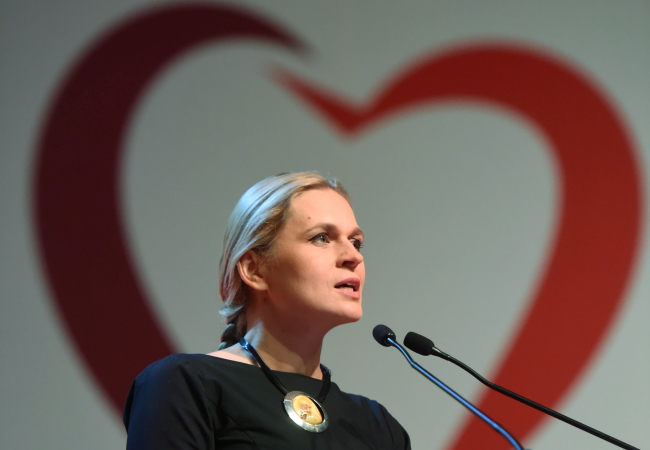 Barbara Nowacka speaks at United Left's convention in Warsaw on Sunday. Photo: PAP/Grzegorz Michałowski