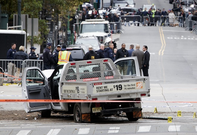 The scene of the New York terror attack. Photo: EPA/JUSTIN LANE.