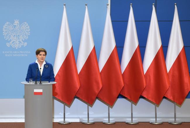 Polish PM Beata Szydło during the conference on Tuesday. Photo: PAP/Radek Pietruszka