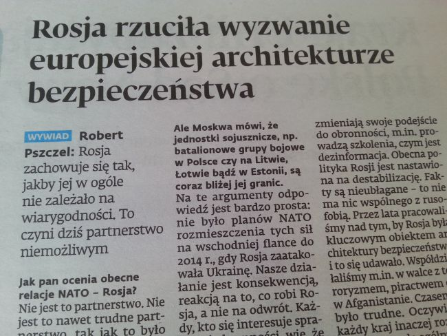 Страница номера Dziennik Gazeta Prawna за 11 июля, на которой опубликовано интервью с Робертом Пшчелем.